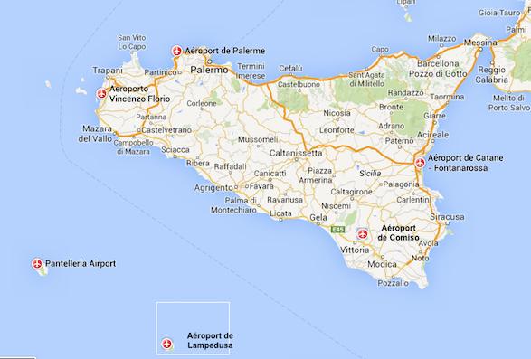 Carte Sicile.Aeroports De Sicile Vins De Sicile